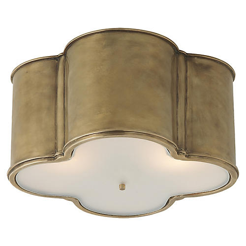 Basil Large Flush Mount, Natural Brass