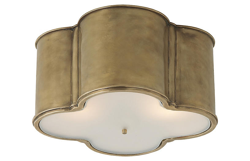 Basil Large Flush Mount - Natural Brass - Visual Comfort & Co.