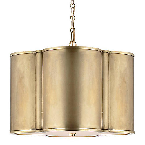 Small Basil Hanging Shade, Natural Brass