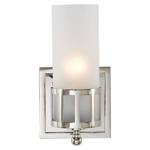 Openwork Single Sconce, Polished Nickel