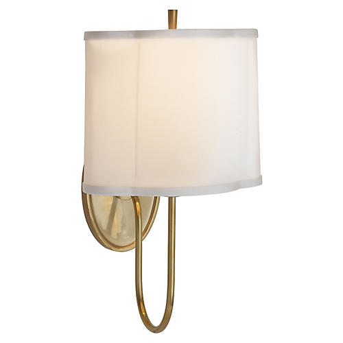 Simple Scallop Wall Sconce, Brass