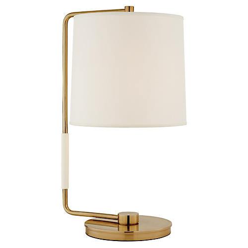 Swing Table Lamp, Brass w/ Silk Shade