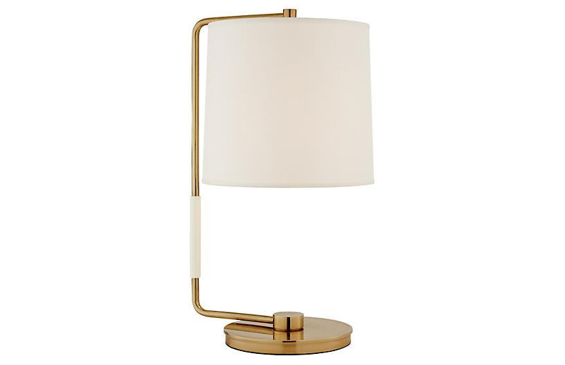Swing Table Lamp, Brass w/ Silk Shade