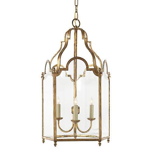 French Market Lantern, Gilded Iron