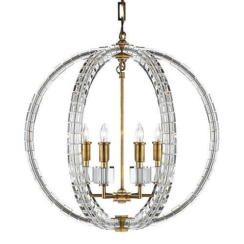 Crystal Cube Spherical Pendant, Brass