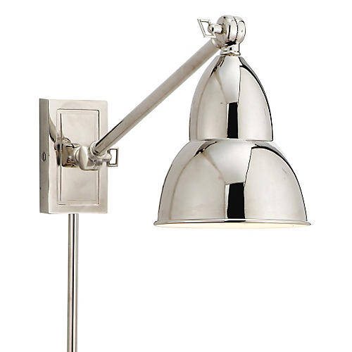 French Library Wall Lamp, Nickel