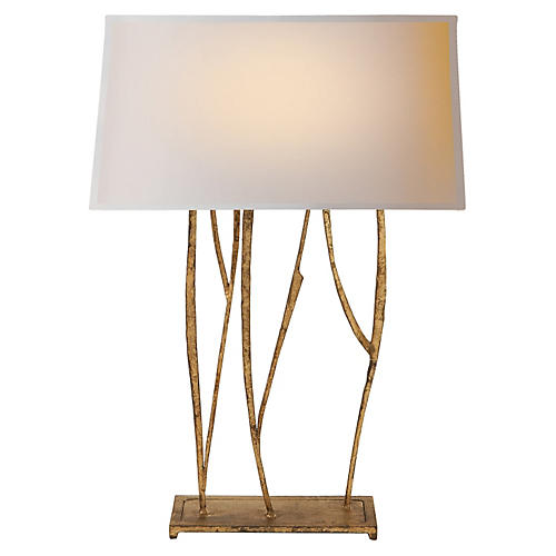Aspen Console Lamp, Gilded Iron