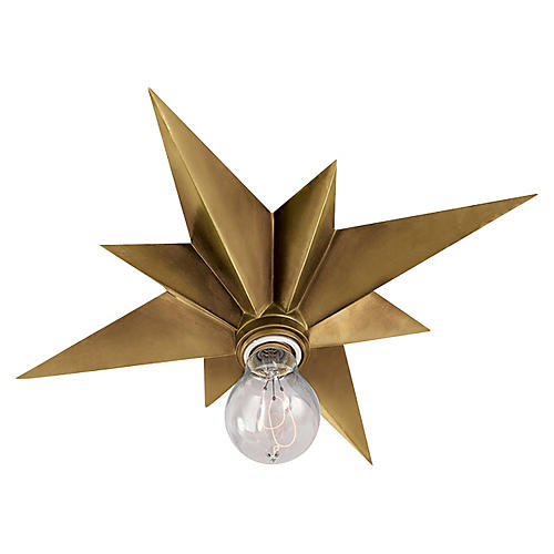 Star Flush Mount, Hand-Rubbed Brass