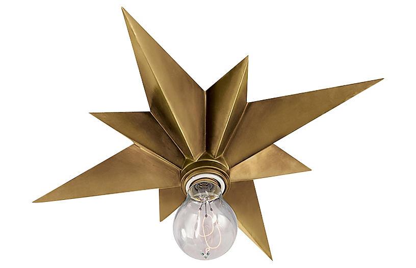 Star Flush Mount, Hand-Rubbed Brass