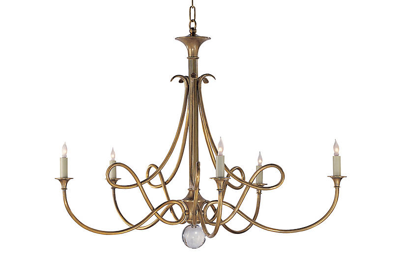 Double-Twist Large Chandelier, Brass