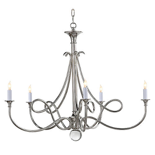 Double Twist Large Chandelier, Nickel
