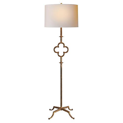Quatrefoil Floor Lamp, Gilded Iron