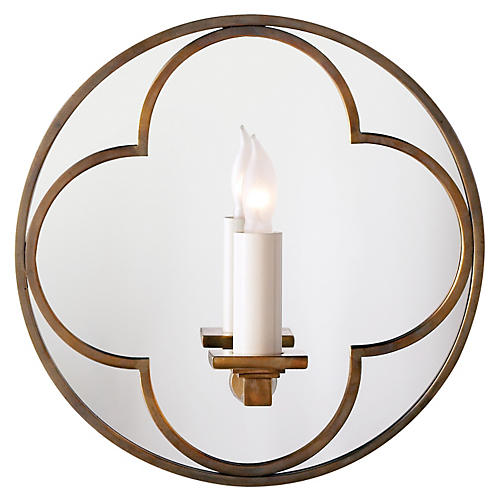 Quatrefoil Round Mirrored Sconce, Brass