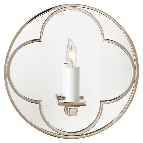 Quatrefoil Round Mirrored Sconce, Nickel