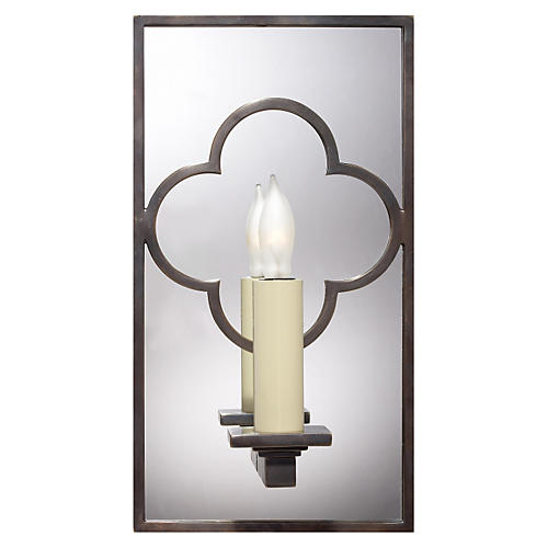 Quatrefoil Mirrored Sconce, Bronze