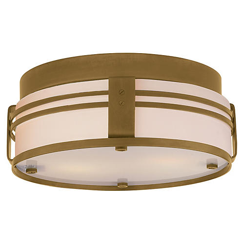 Ted Flush Mount, Hand-Rubbed Brass