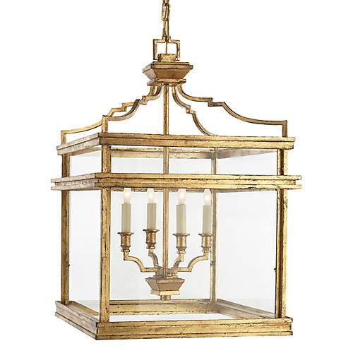 Mykonos Medium Lantern, Gilded Iron