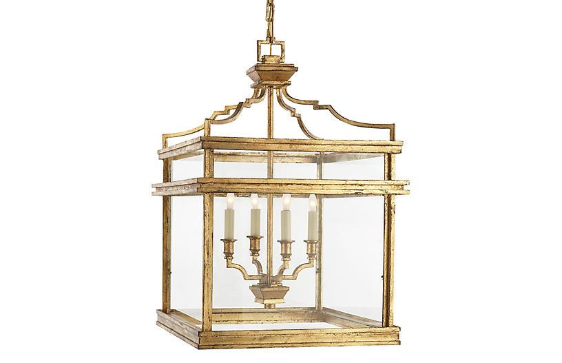 Mykonos Medium Lantern, Gilded Iron