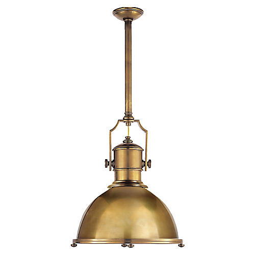 Small Country Industrial Pendant, Brass