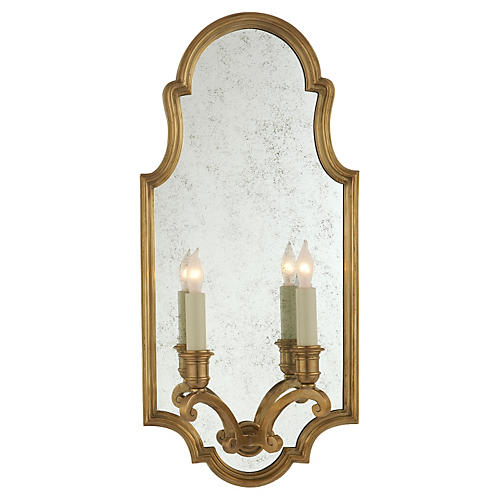 Sussex Framed 2-Light Sconce, Brass