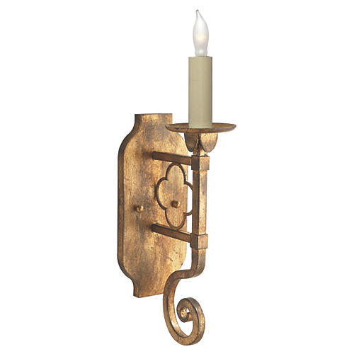 Margarite Single Sconce, Gilded Iron