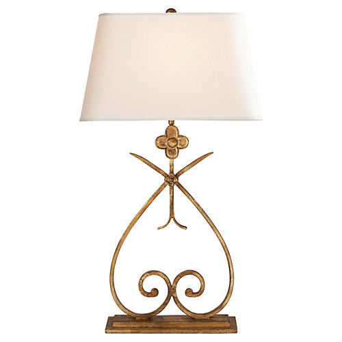 Harper Table Lamp, Gilded Iron