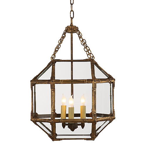 Morris Lantern, Antiqued Gold/Clear