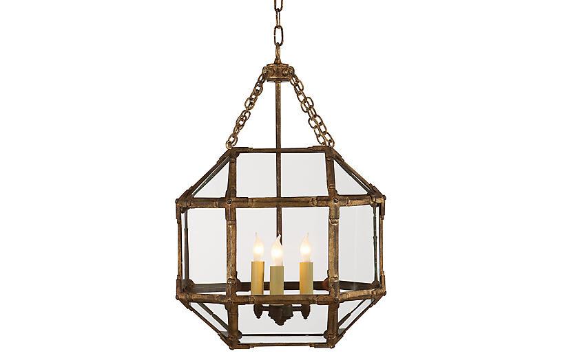 Morris Lantern, Antiqued Gold/Clear