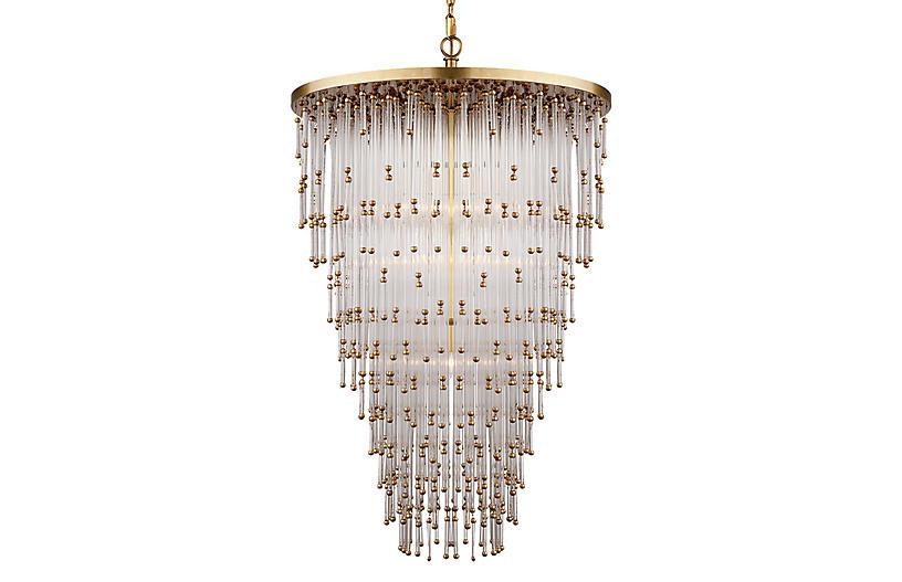 Mia Large Pendant, Brass/Glass