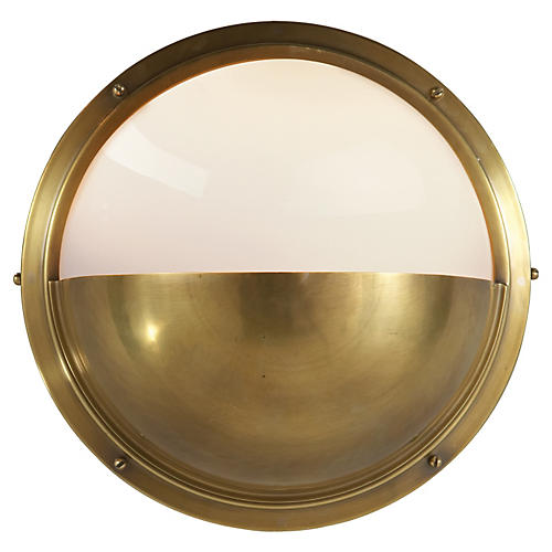 Pelham Moon Wall Light, Brass