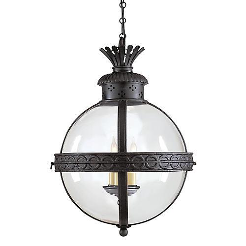 Crown Top Globe, Aged Iron