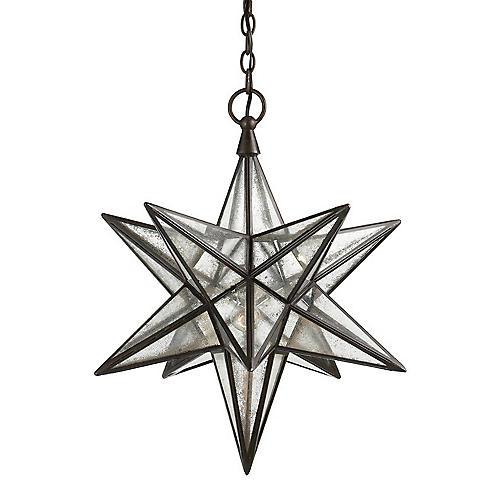 "18"" Moravian Star Pendant, Aged Iron"