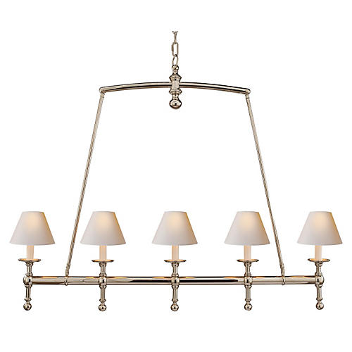 Linear Chandelier, Polished Nickel