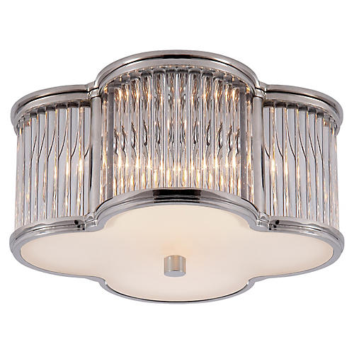 Basil Small Flush Mount, Polished Nickel