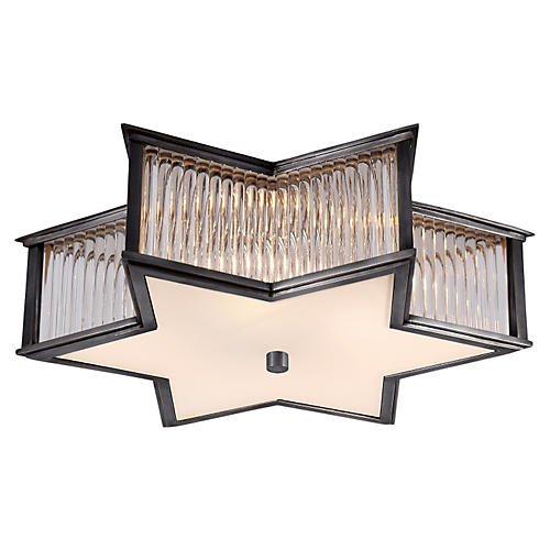 Sophia Flush Mount, Gunmetal/Frosted