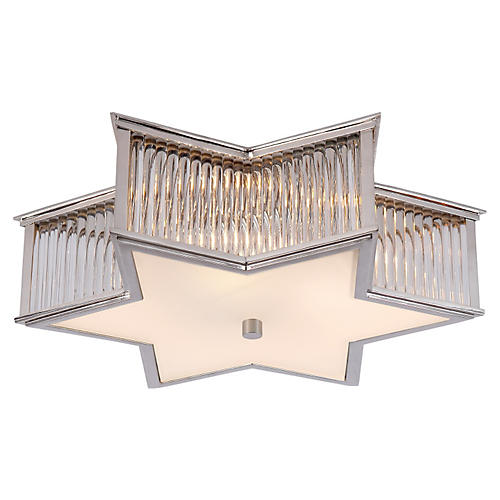 Sophia Flush Mount, Nickel/Frosted
