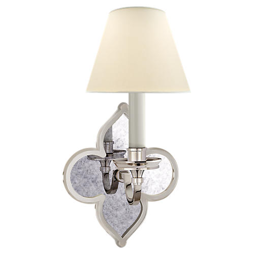 Lana Single Sconce, Polished Nickel