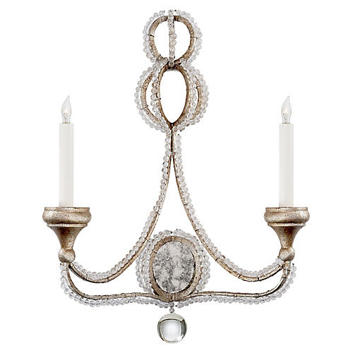 Milan Crystal Sconce, Venetian Silver