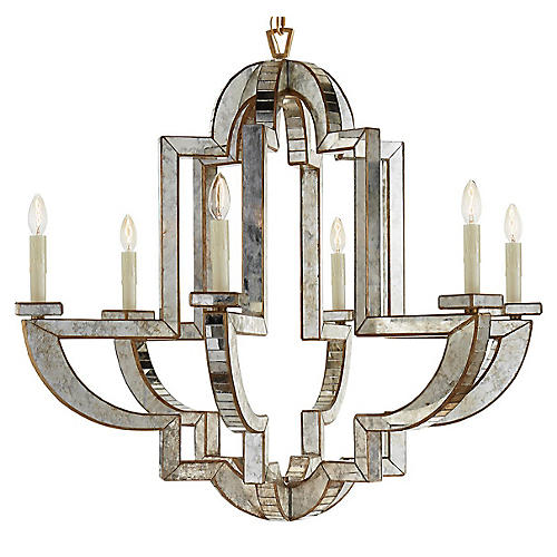 Lido Large Chandelier, Antiqued Mirror