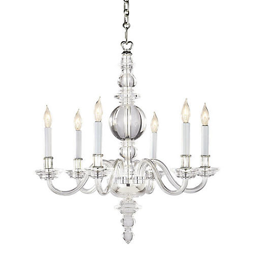 George II Chandelier, Polished Nickel