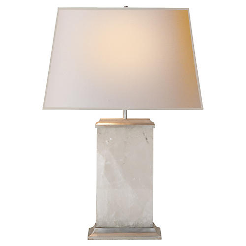 Crescent Table Lamp, Antiqued Silver