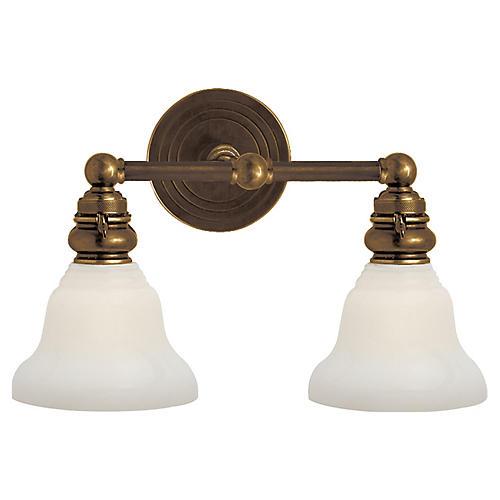 Boston 2-Light Sconce, Antiqued Brass