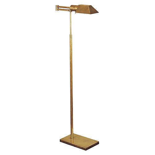 Swing-Arm Floor Lamp, Antiqued Brass
