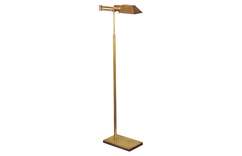 Swing-Arm Floor Lamp - Antiqued Brass - Visual Comfort & Co.