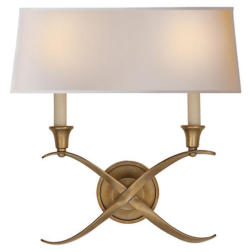 Bouillotte Large Sconce, Antiqued Brass
