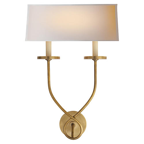 Symmetric Twist Double Sconce, Brass