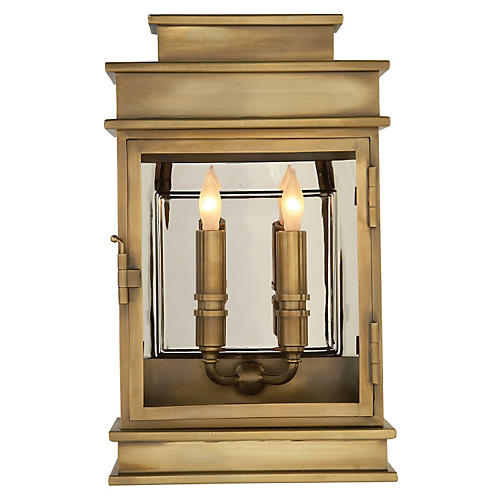 Linear Lantern, Antiqued Brass