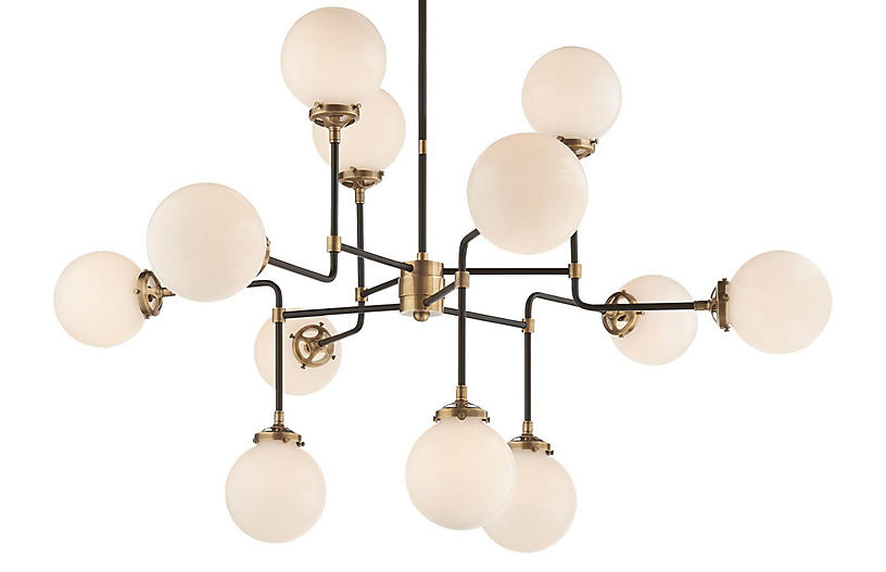 Bistro Medium Chandelier, Antiqued Brass
