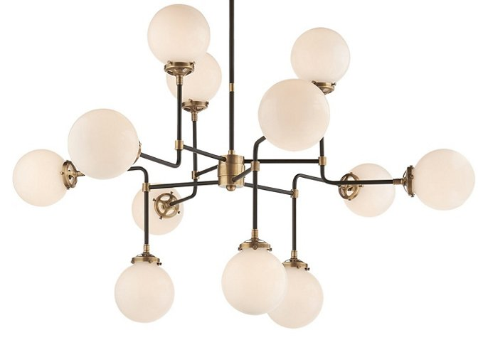 Bistro medium chandelier antiqued brass chandeliers chandeliers ceiling lights fans lighting one kings lane