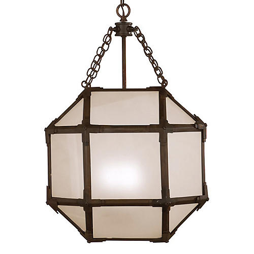 Morris Lantern, Antiqued Zinc/Frosted